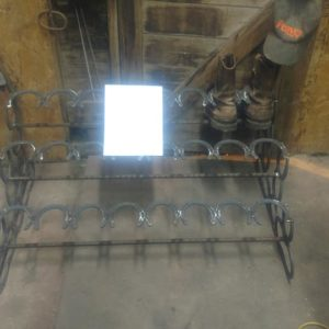 Hand Made Boot Rack 12 pair with Hames and Horse Shoes